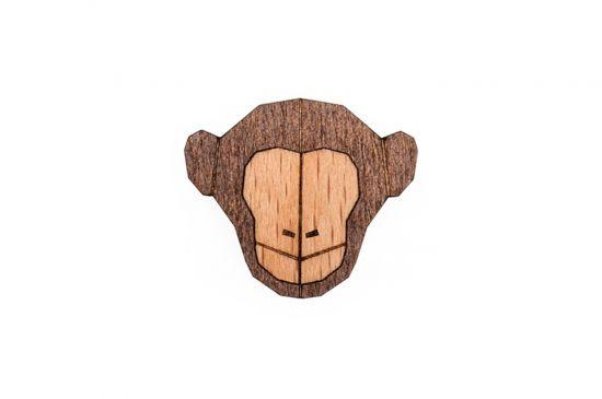 BeWooden - Monkey Brooch