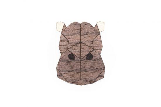BeWooden - Hippo Brooch